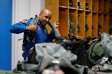 NASA commercial crew astronaut Victor Glover gears up for a training flight in Houston, Texas