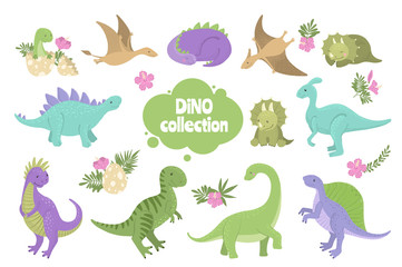 Set of cute dinosaurs isolated on white.