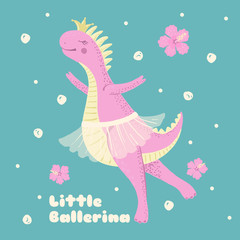 Cute pink dinosaur ballerina with hibiscus flowers.