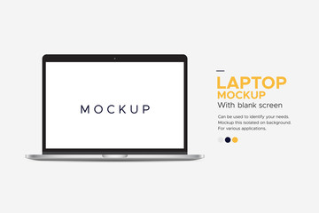 Banner laptop mockup blank screen isolated on background. Can be used to identify your needs.