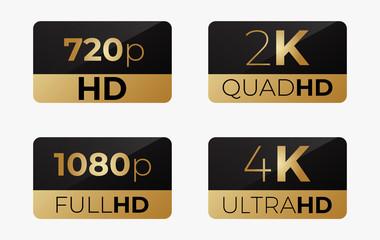 4k ultrahd , 2k quadhd , 1080 fullhd and 720 hd
