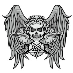 Gothic sign with skull, and wings grunge vintage design t shirts