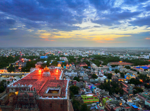 Trichy (Tiruchirapalli) city - view from ancient Rock Fort (Rockfort) and Hindu temple, Tamil Nadu state, India, South Asia