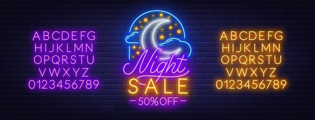 Fototapete - Night sale neon sign on a brick wall background. Light banner with moon, clouds and stars. Neon alphabet. Template for a discount.