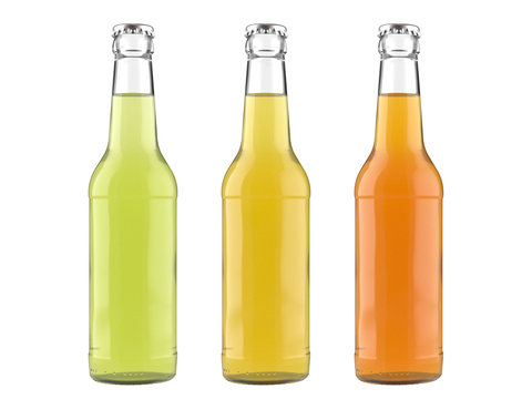 12 oz glass bottles Long Neck with lime, lemon and orange drinks. Isolated 3D render on a white.