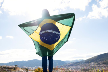 Woman with brazilian flag, independence day