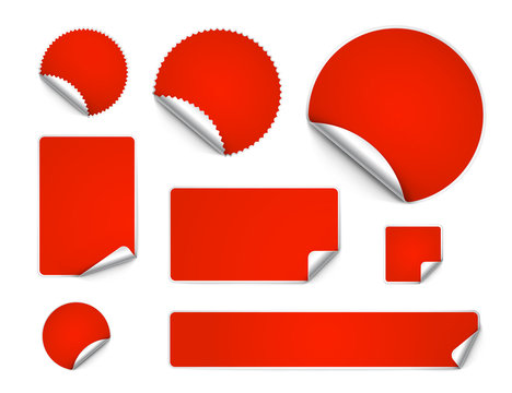 Set of curled stickers isolated on white background. Vector illustration. It can be use for price, promo, adv and etc.