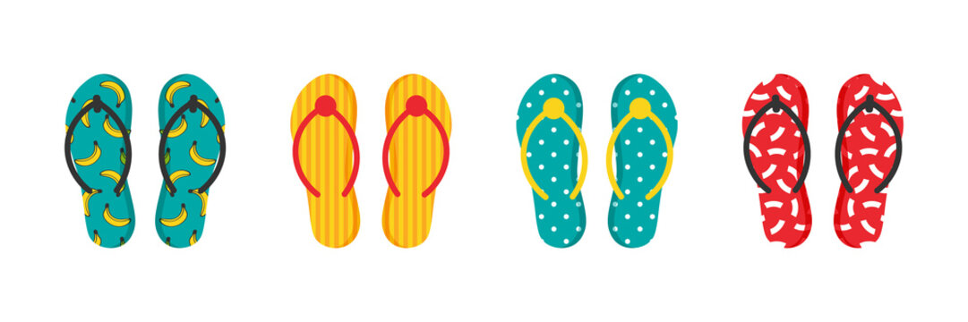 Set, collection of colorful cartoon flip flops with ornaments, patterns for summer design.