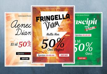 Seasonal Sale Poster Layout Set with Typographic Accents and Abstract Elements