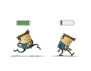 Cheerful businessman with high full level energy battery green and tired businessman with low battery red color. Business concept. Illustration isolated