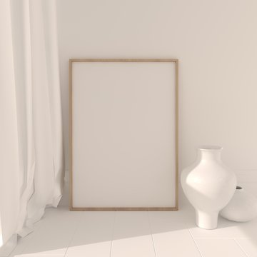 Picture poster template 3d mockup. Fullsize raster visualization.