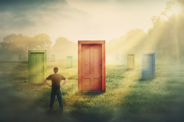 Doubtful man in front of many different doors choosing one. Difficult decision, concept of important choice in life, failure or success. Ways to unknown future career development.