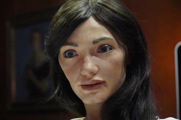 "Robot artist 'Ai-Da', described as ""the world's first ultra-realistic AI humanoid robot artist"". Ai-Da is opening her first exhibition of drawings, paintings, sculpture and video works, called ""Unsecured Futures"""