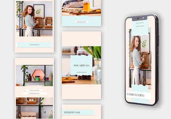 Set of 10 Social Media Stories Layouts with Ripped Paper Elements