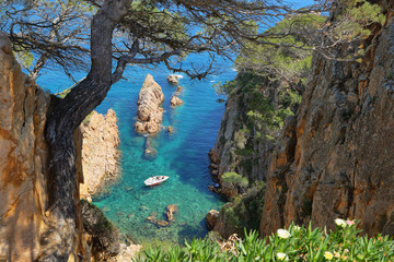 View of the little inlet near Sagaro in Costa Brava, Spain