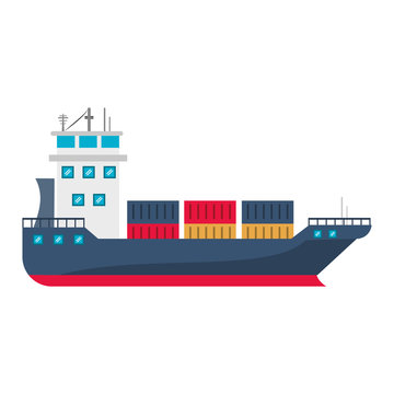 Freighter ship boat with containers