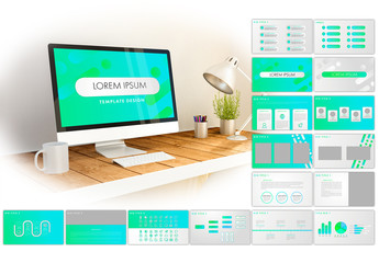 Blue and Green Digital Fluid Presentation Layout with Icons