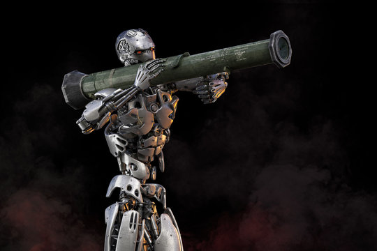 Robot with bazooka rocket launcher. Military robot cyborg soldier future technology concept. 3D illustration