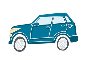 Cute illustration of a doodle car. Pastel colored vector auto with white outline.