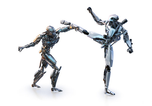 Couple of modern robots fighting on white background. Sport, martial arts, healthcare, fitness, artificial intelligence concept. 3D illustration
