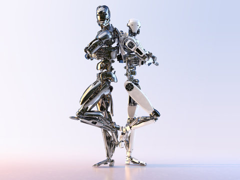 Couple of modern cyborg robots  standing back to back, isolated. Robotic technology, communication, artificial intelligence and relationships concept. 3D illustration.
