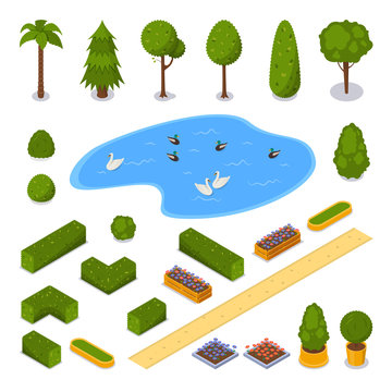 City park 3d isometric icons. Vector landscape design elements. Green garden trees, pond and flower pots, isolated