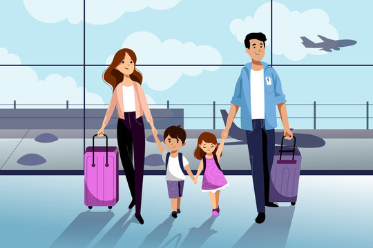 Happy family with two kids going to their summer vacation. Family travel by airplane. Vector flat cartoon illustration.