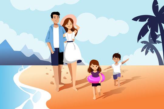 Happy family enjoy summer vacation. Summer travel and leisure on sea beach. Vector flat cartoon illustration.