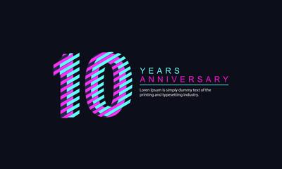 10 Year Anniversary Vector Template Design Illustration