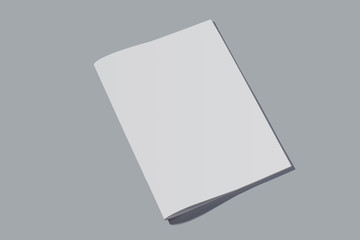Closed empty notebook with white sheets on grey background