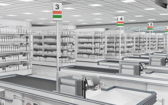 Supermarket cash registers and shelves with goods. 3d illustration.
