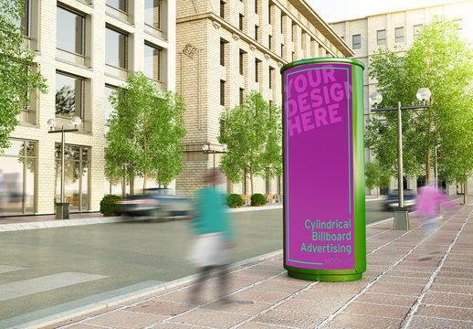 Cylindrical Billboard on City Street Mockup