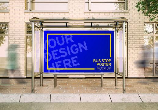 Horizontal Poster in Bus Stop Kiosk Mockup