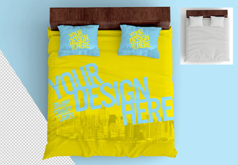 Top View Mockup of Bed Sheet and Pillow Set