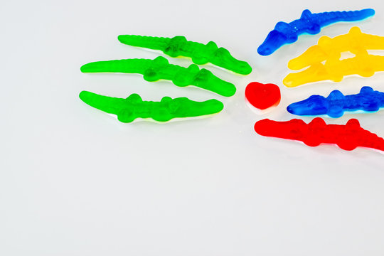 candy from the marmalade in the form of crocodiles of different colors