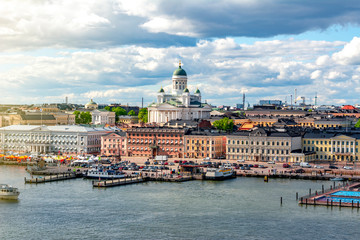 Helsinki cityscape and Helsinki Cathedral, Finland