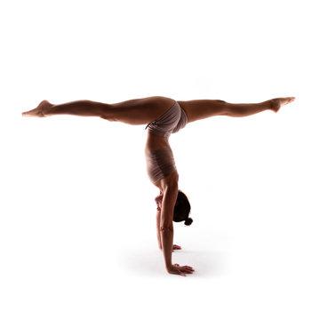 Yoga alphabet, letter T formed by body of yogi