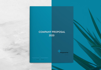 Company Proposal Layout with Blue Accents