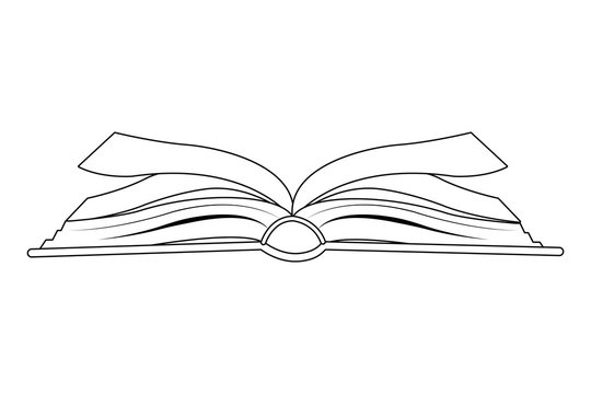open book icon cartoon isolated black and white