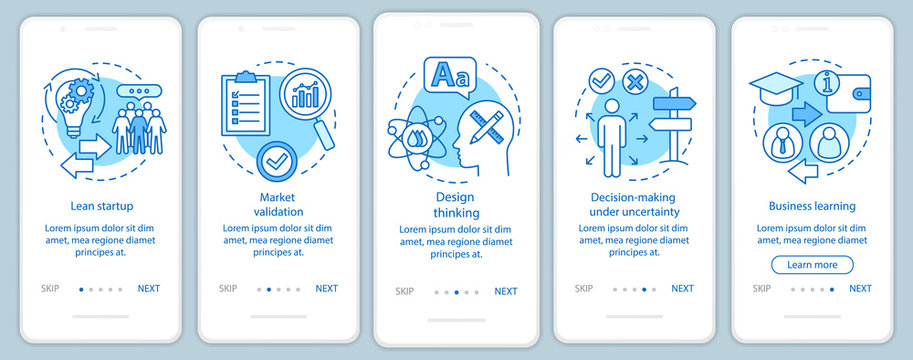 Startup principles onboarding mobile app page screen with linear concepts