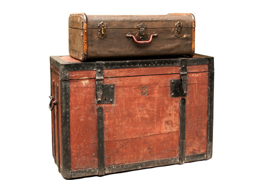 Old retro wooden chest and vintage grunge suitcase isolated on white background