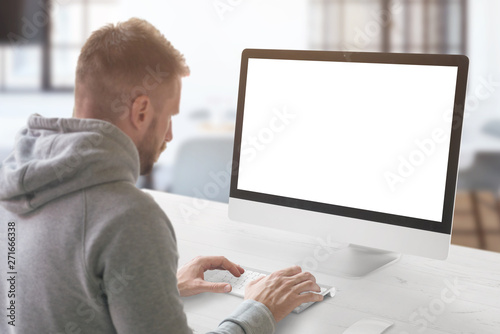 Guy work on computer  Isolated screen for mockup, web design