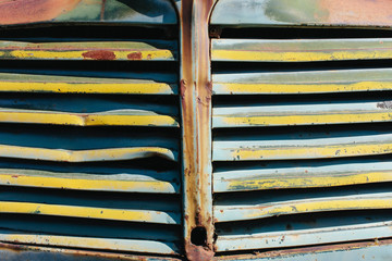 Close up of front grille from abandoned antique truck,Close up of grill from abandoned antique truck
