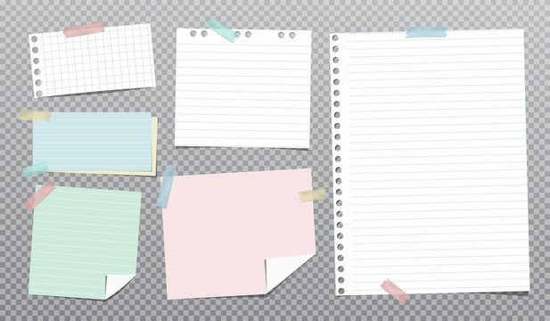 White, colorful and lined note, notebook paper stuck on grey squared background. Vector illustration