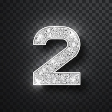 Silver glitter alphabet numbers 2 with shadow. Vector realistick shining silver font number two of sparkles on blask background. For decoration of cute wedding, anniversary, party, label, headline