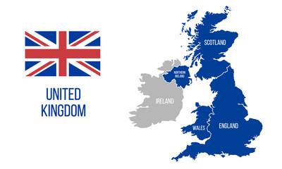 United Kingdom map. England, Scotland, Wales, Northern Ireland. Vector Great Britain map wit UK flag isolated on white background.