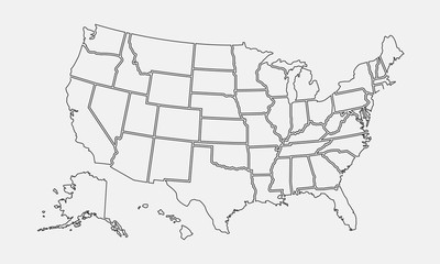 Wall Mural - USA map outline. United States vector blank map. US line map template