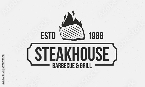 Steakhouse retro logo  Steak with fire flame  Barbecue