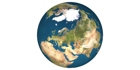 Earth world globe round from space white background