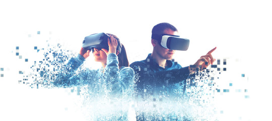A man and a woman in glasses of virtual reality. The concept of modern technologies and...